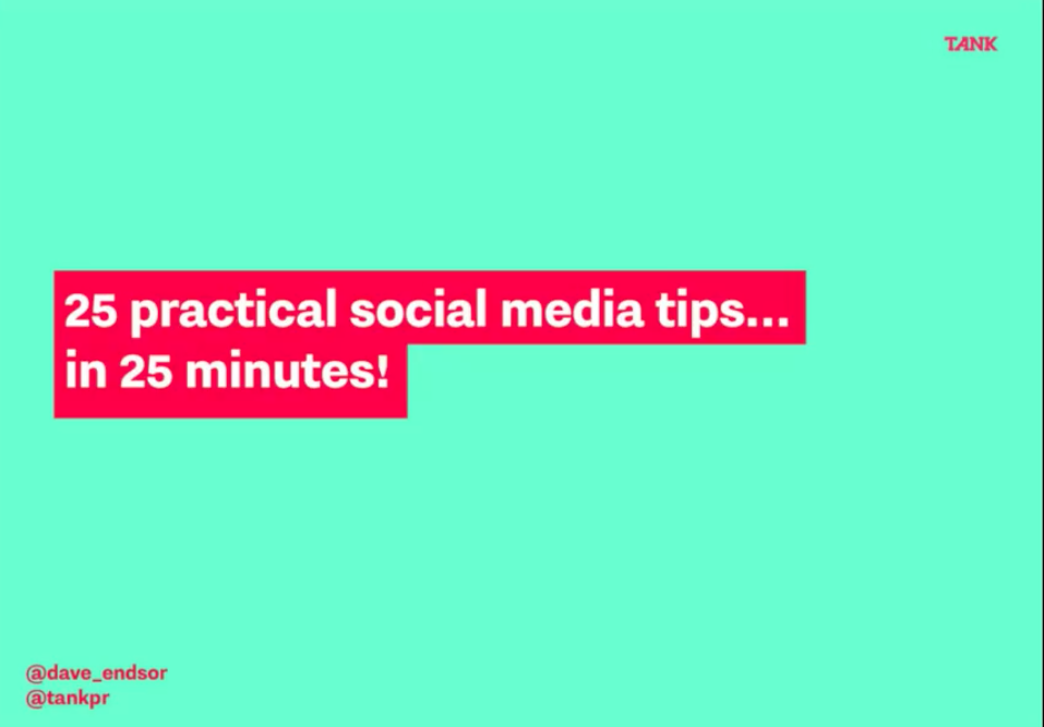 25 social media tips title on green background